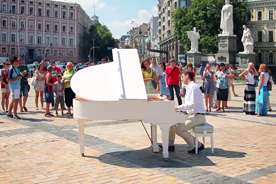 Grand piano at St. Michael's Square. Project 'Dream! Act!'